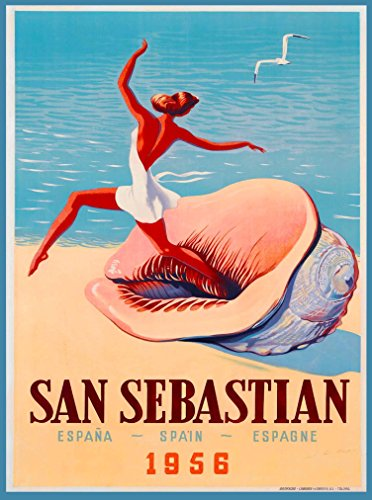- A SLICE IN TIME 1956 Spain San Sebastian Espana Europe European Vintage Travel Advertisement Art Poster Print. Measures 10 x 13.5 inches