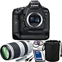 Canon EOS-1D X Mark II DSLR Camera with EF 100-400mm f/4.5-5.6L IS II USM Lens 64GB Bundle 7PC Accessory Kit. Includes 64GB CF Memory Card + 3PC Filter Kit (UV-CPL-FLD) + Mini HDMI Cable + Lens Pouch + Microfiber Cleaning Cloth - International Version (No Warranty)