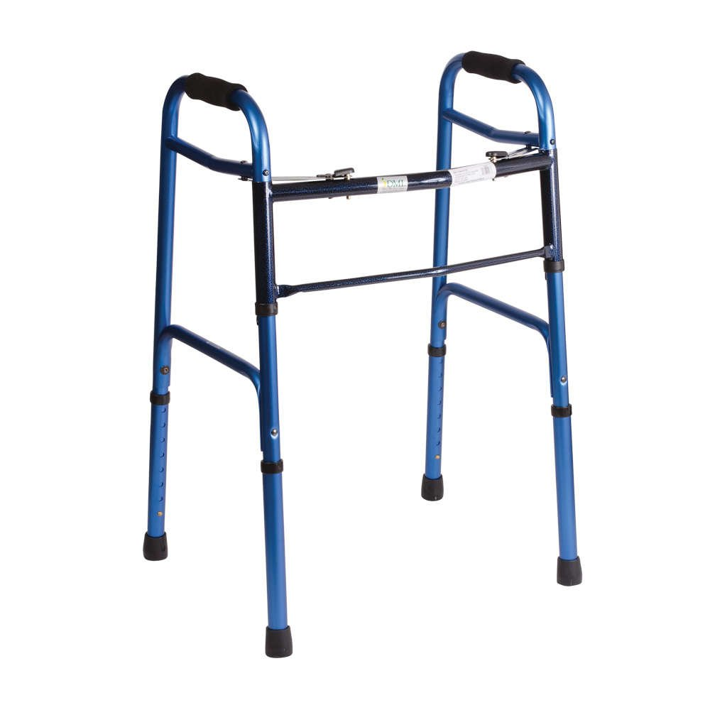 DMI Lightweight Adjustable Folding Walker for Adults with Easy Two Button Release, Blue
