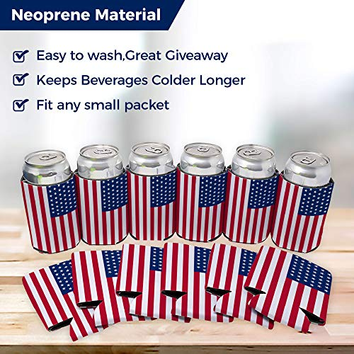 Neoprene Can Cooler Sleeve Collapsible Coolie Economy Bulk Insulation with Stitches Perfect 4 Events,Custom DIY Projects Variety of Colors (6, USA Flag) by QualityPerfection (Image #7)