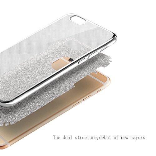 """Jawseu Coque de protection en gel silicone souple transparent pour iPhone 6Plus/6S Plus 5,5"""" Ultra fine Protection optimale Avec strass TPU Avec stylet à paillettes"""