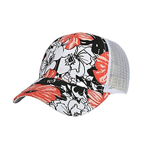 キャップ女性の男性調整可能なカラフルなフラワープリント野球帽メッシュキャップシェード夏,オレンジ,調節可能な