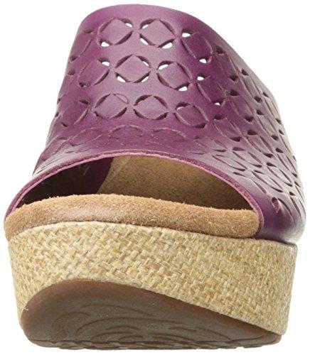 Clarks Caslynn Dylan sandalias de cuña de la mujer Plum Leather
