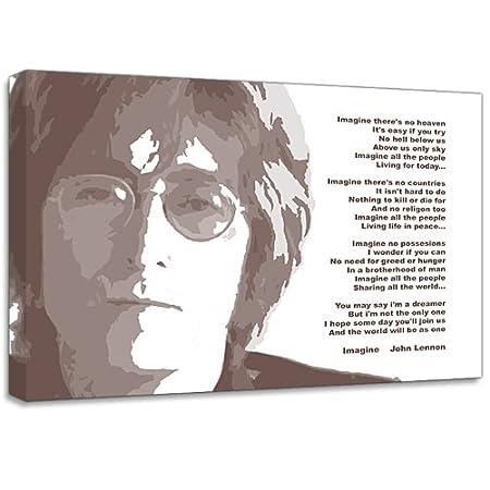 John Lennon The Beatles Imagine Lyrics Music Canvas Art Print Poster