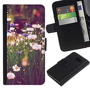 KingStore / Leather Etui en cuir / Samsung Galaxy S6 / El campo Margaritas verde Blooming Vignette