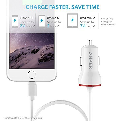 Anker 12W Car Charger with 3ft Lightning Cable PowerDrive Lightning Apple MFi-Certified iPhone Car Charger for iPhone 6//6 Plus iPad Air 2 and More