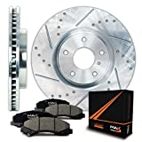 Front Silver Slotted & Cross Drilled Rotors and Ceramic Pads Brake Kit KT044511 | Fits: 2009 09 2010 10 2011 11 2012 12 Toyota Corolla