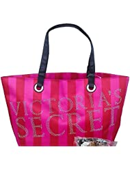 Victorias Secret Pink Red Stripes Silver Studded Bling Tote Bag Limited Edition
