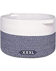 ALLMYHOMY XXX-Large Cotton Rope Laundry Basket 21.7x13.8 in, Woven Storage Basket, Toy Bin, Blanket Baskets, Clothes Laundry Hamper, Decorative Round Baskets with Easy-to-Grab Handles