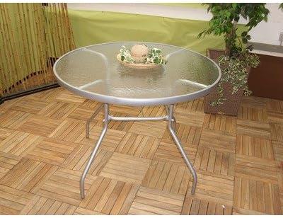 1 meter Aluminium mit Glas Sparmeile Ambientehome 70238 Glastisch inklusive Schirmloch rund /ø ca