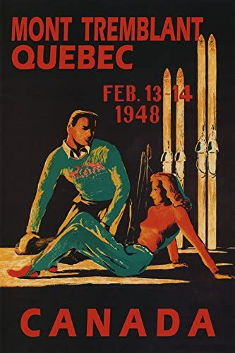 Couple 1948 SKI Skiing SKIS Winter Sport in Mont Tremblant Quebec Canada Travel Tourism 12 X 16 Image Size Vintage Poster REPRO Matte Paper WE Have Other Sizes