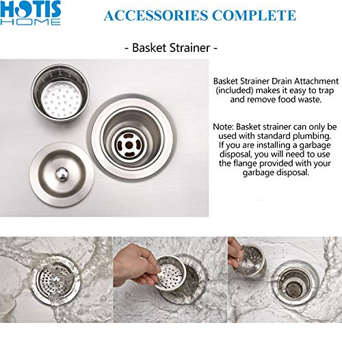 Hotis Commercial Stainless Steel Single Bowl Drop In 15 x 17 Inch Undermount Square Small Prep Kitchen Sink, Bar/Prep Kitchen Sinks With Strainer by HOTIS HOME (Image #5)