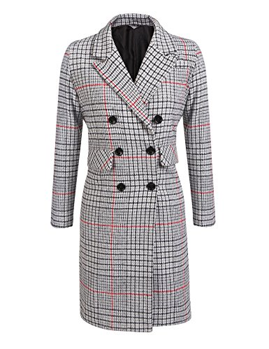 Peacoat Jacket Blazer (Easther Women's Winter Thick Lined Double Breasted Long Maxi Jacket Blazer Pea Coat)