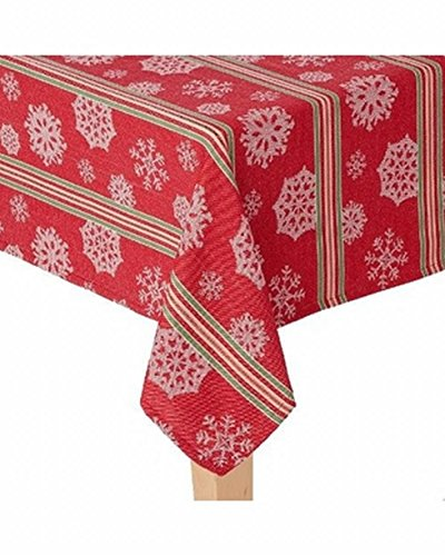 St Nicholas Square Woven Red Stripe Snowflake Tablecloth Table Cloth 60x84 Ob (Tablecloths Christmas Kohls)