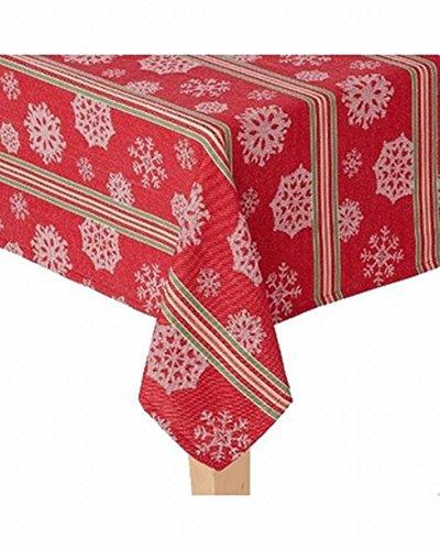 St Nicholas Square Woven Red Stripe Snowflake Tablecloth Table Cloth 60x120 Ob
