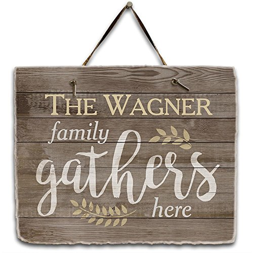 - GiftsForYouNow Personalized Family Gathers Here Slate Plaque, 11.5