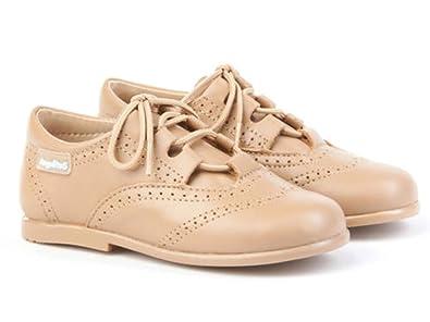 ANGELITOS Zapatos inglesitos de Piel Para Niña y Niño (Unisex) Color Camel. Marca Modelo 505. Calzado infantil Hecho EN España.
