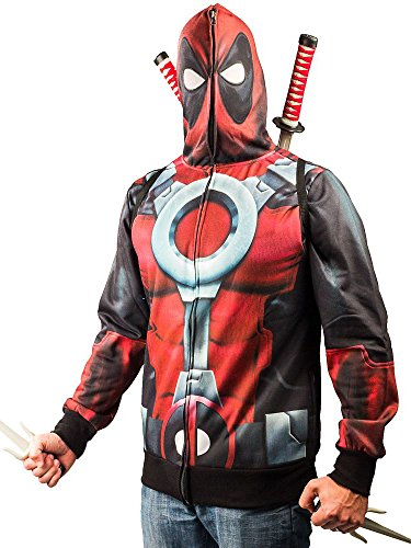 Marvel Men's Painted Pool Sublimated Costume Fleece, Red/Black, X-Large -