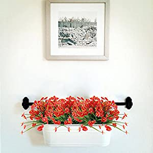 NAHUAA 4PCS Artificial Anthurium Flowers Fake Greenery Plants Faux Plastic Wheat Grass Shrubs Table Centerpieces Arrangements Home Kitchen Office Indoor Outdoor Spring Decorations Red 2