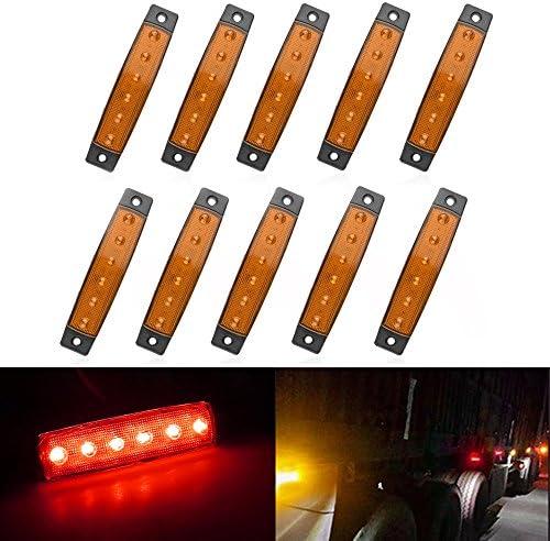Seitenmarkierungs Licht Anzeige Lichter Hinteres Licht Lizenz Lampe 6 Led Blinker Licht Für Auto Lkw Anhänger Lkw Bus 12 24v Rot Gelb 10stk Gelb Auto