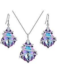 925 Sterling Silver CZ Baroque Pendant Necklace Earrings Set Adorned with Swarovski crystals