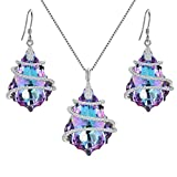 EVER FAITH 925 Sterling Silver CZ Baroque Pendant Necklace Earrings Set Adorned with Swarovski crystals