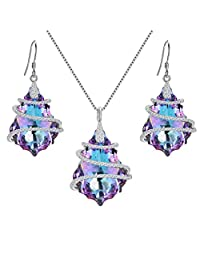 EVER FAITH 925 Sterling Silver CZ Baroque Pendant Necklace Earrings Set Vitrial Light Purple Adorned with Crystals from Swarovski®