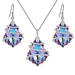 Pendant Necklace Earrings Set with Swarovski Crystals