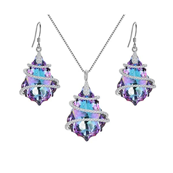 EVER FAITH 925 Sterling Silver CZ Baroque Pendant Necklace Earrings Set Adorned with...