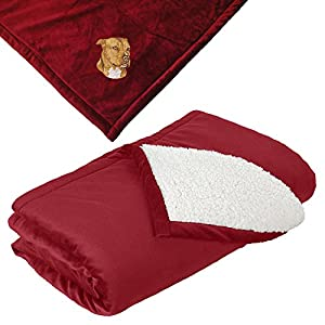 Cherrybrook Dog Breed Embroidered Mountain Lodge Reversible Blanket - Red - American Staffordshire Terrier 5