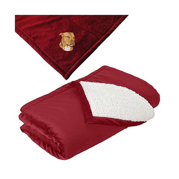 Cherrybrook Dog Breed Embroidered Mountain Lodge Reversible Blanket - Red - American Staffordshire Terrier 1