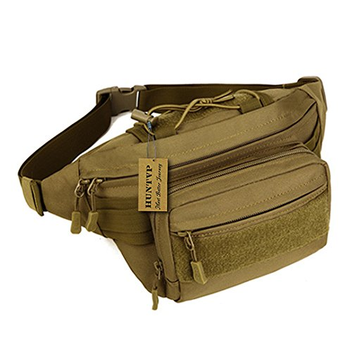 Utility Pouch Pack Waist (Huntvp Military Hip Fanny Pack Tactical Waist Bag Packs Waterproof Hip Belt Bag Pouch for Hiking Climbing Outdoor Bumbag Coyote Brown)