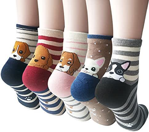 4-5 Pairs Womens Cute Animal Socks Casual Cotton Crew Funny Socks