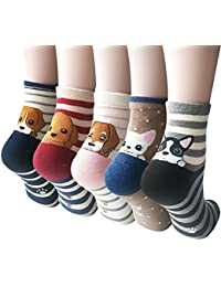 4-5 Pairs Womens Cute Funny Socks Casual Cotton Crew...
