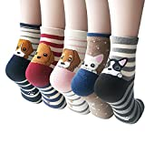 Womens Cute Animal Painting Socks, Funny and Cool 100% Cotton Art Dog Socks for Women,(5 Pack) Mix Color 5,One Size