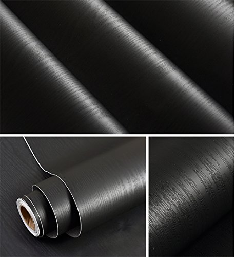 Black Wood Grain Contact Paper Vinyl Self Adhesive Shelf Liner Covering for Kitchen Countertop Cabinets Drawer Furniture Wall Decal 23.79