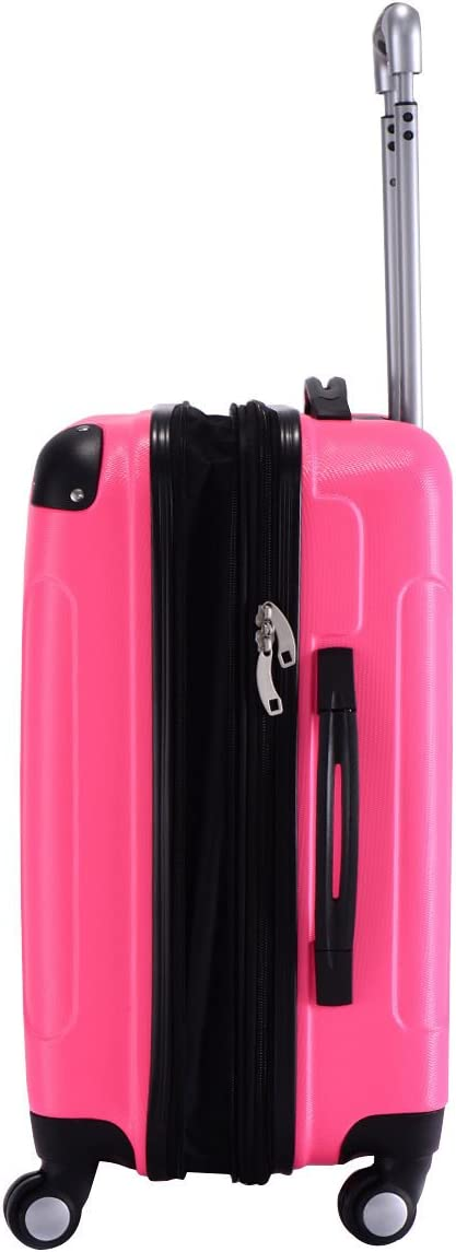GHP Pink 14Wx10Thickx20H 4-Wheel Spinner Lightweight Expandable Trolley Suitcase