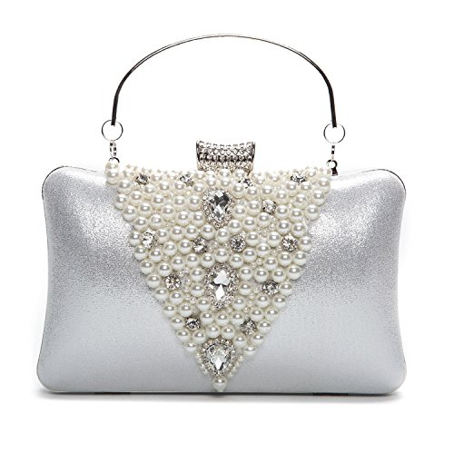 Kaever Fashion Pearl Satin Clutches Purses Evening Bags Wedding Party Handbags For Women(Silver)