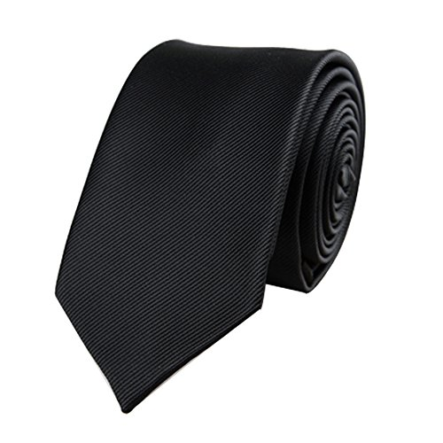 Men's Skinny Tie Necktie with Stripe Textured 6 cm / 2.4inches- Various Colors (Black)
