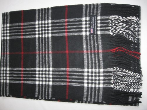 Cashmere Feel Unisex Pashmina Scarf in Checks and Plaid (BLACK)
