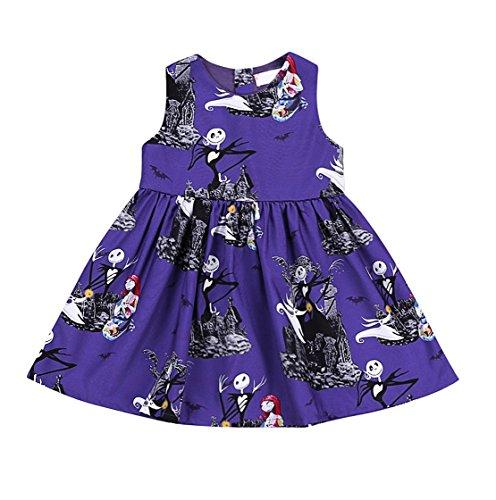 Tollder Kid Girls Bat Zombie Pumpkin Print Sleeveless Dress Baby Halloween Outfit Clothes Party Sundress (2T, (Zombie Outfits For Halloween)