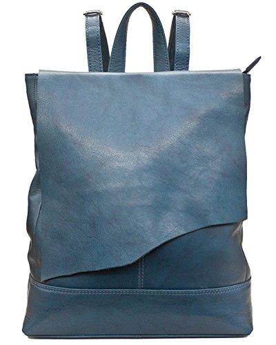 Ili Leather Backpack (ili 6501 Leather Raw Edge Backpack Handbag (Jeans Blue))