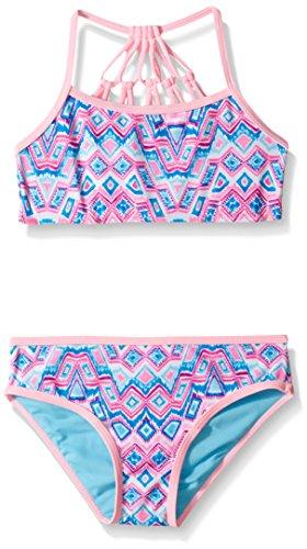 YMI Big Girls' Dream Cathcher Two Piece Crop Top Macrame Swimsuit, Blue Radiance, 10/12