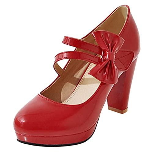 Artfaerie Damen Rockabilly Mary Jane Lack High Heels Pumps