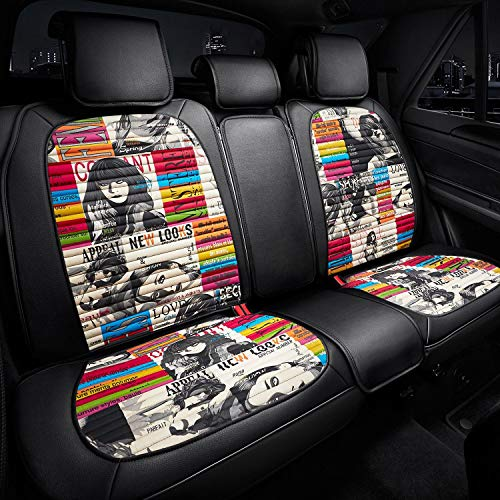 Rear Seat Covers Designer Series - 2nd Row Nonslip Seat Cover Fit To Most Car Truck SUV - Black with Couture ()