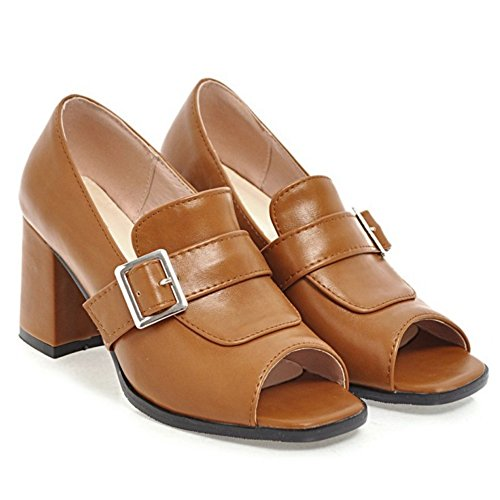 Women FANIMILA Toe Peep Brown Pumps HdwdAqa