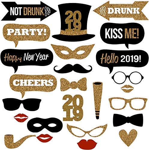 New Years Photo Booth Props- Pack of 25, Sturdy Cardstock | 2019 New Years Eve Photo Props Decorations Supplies | Great for Royal and Masquerade Themed New Year's Party Backdrop | Home Office Décor