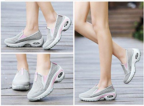 Elástico Zapatillas Senderismo Gray mujer de montañismo Usable Ocio Transpirabilidad Zapatillas Antideslizante deportivas para Huaihsu wgxqI6ZBP