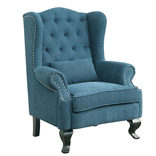 HOMES: Inside + Out IDF RC6509BL Maine Rocking Modern Fabric Armchairs, Blue