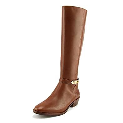 Womens Caroline Leather Closed Toe Mid-Calf Riding Boots